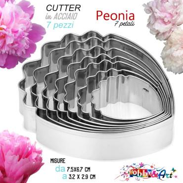 Cutter Peonia, petali in acciaio - Set 7 pezzi, 7 misure