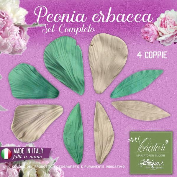 Venatori in silicone - Peonia erbacea, set completo 2 Petali + 2 foglie - ITA