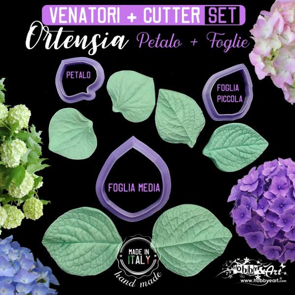 Venatori in silicone Ortensia, petalo grande, 2 foglie + 3 Cutter