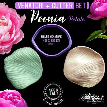 Venatore in silicone Peonia petalo medio + Cutter