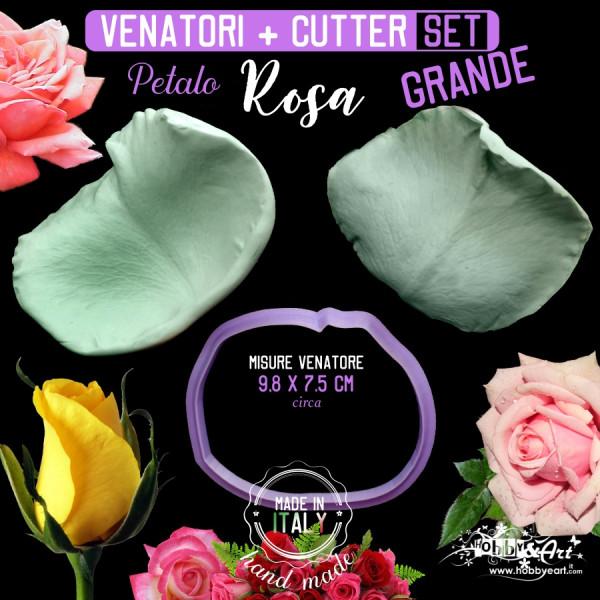 Venatore in silicone Rosa petalo grande 98x75 mm + 3 Cutter