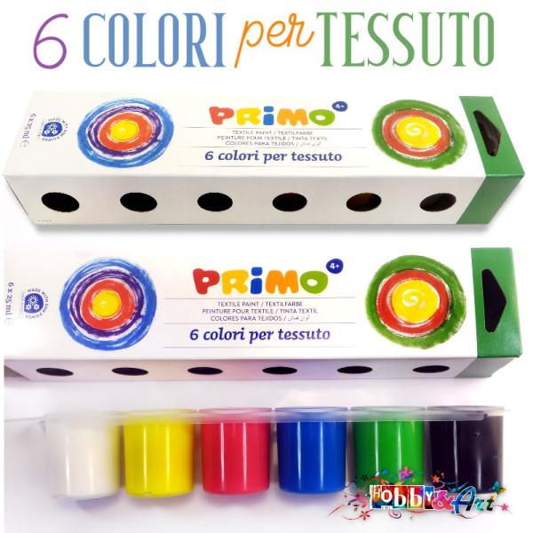 Colori per tessuto Primo - 6 colori da 25ml