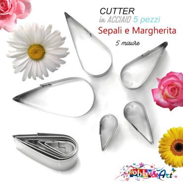 Cutter in metallo sepali, petali di margherita, set 5 pezzi