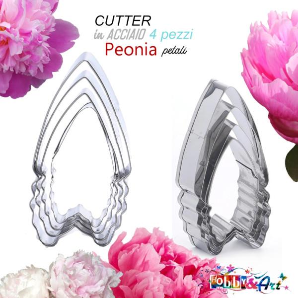 Cutter in metallo Peonia petali set 4 pezzi modA