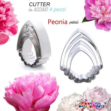 Cutter in metallo Peonia petali set 4 pezzi modB