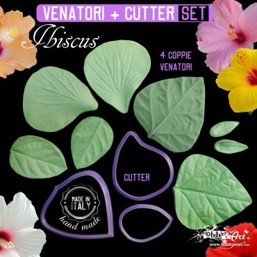 Venatore in silicone Hibiscus, petalo, foglie, sepalo + Cutter