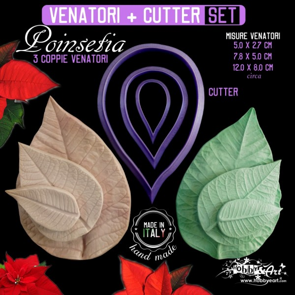 Venatori in silicone set Poinsetia (stella di Natale) + 3 Cutter