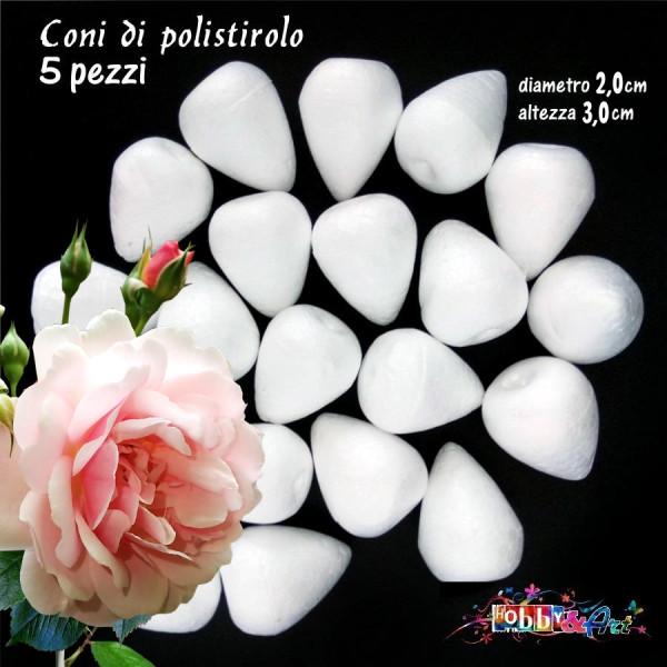 Coni di polistirolo bianco 3,0 x 2,0 cm - 5pz