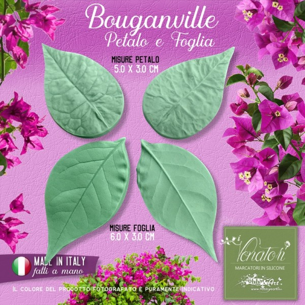 Venatore in silicone Bouganville set petalo e foglia - ITA