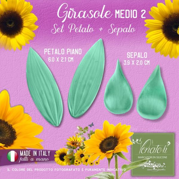 Venatore in silicone Girasole - Petalo e Sepalo medi B - ITA
