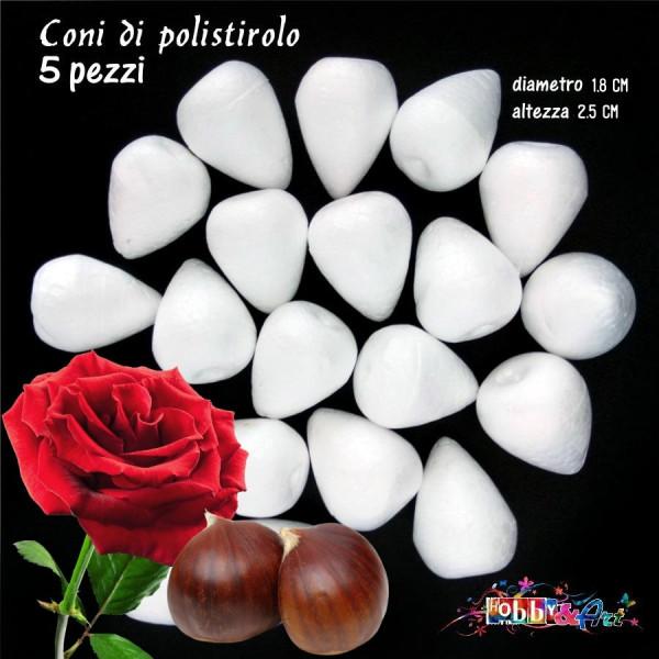 Coni di polistirolo bianco 2,5 x 1,8 cm - 5pz