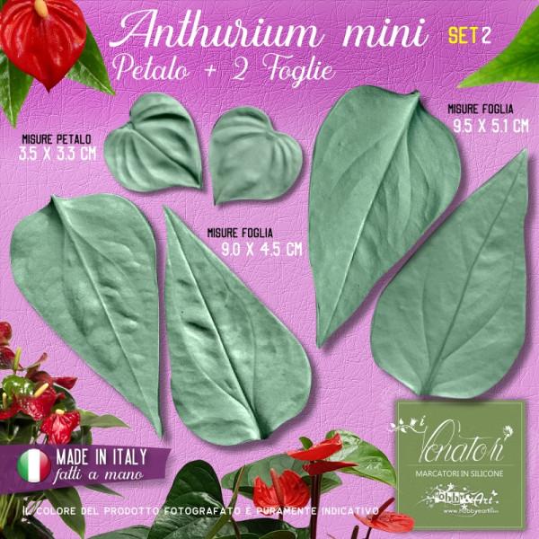 Venatori in silicone Anthurium mini, Petalo e 2 Foglie set 2 - ITA