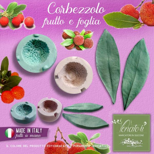 Stampo in silicone bivalva frutto di Corbezzolo 20mm e foglia