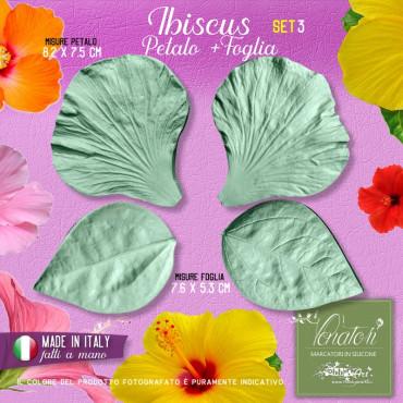 Venatori in silicone Hibiscus, Petalo e Foglia set 3 - ITA