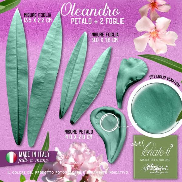 Venatore in silicone Oleandro bianco petalo + 2 foglie - ITA