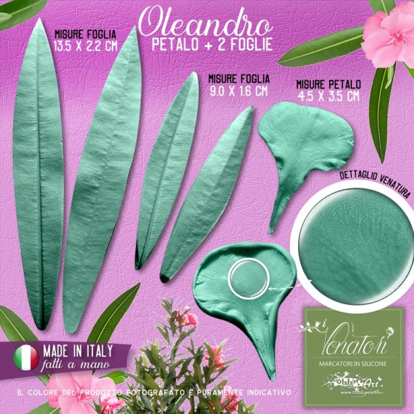 Venatore in silicone Oleandro petalo + 2 foglie - ITA