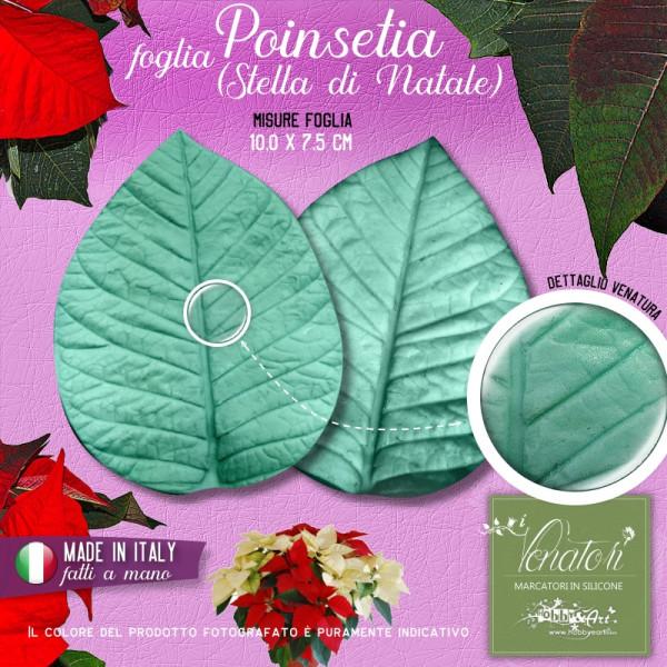 Venatore in silicone Poinsetia, Stella di Natale - Foglia media 10,0 x 7,5 cm ITA