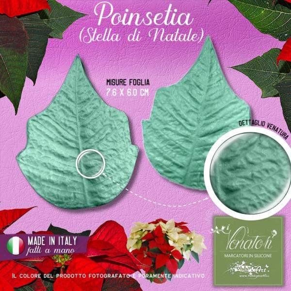 Venatore in silicone Poinsetia, Stella di Natale - misure 7,6 x 6,0 cm ITA