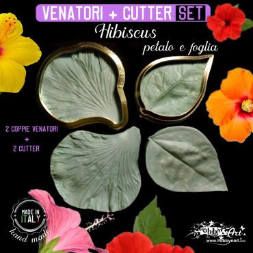 Venatore in silicone Hibiscus petalo 82x75 e foglia 76x53 + 2 Cutter