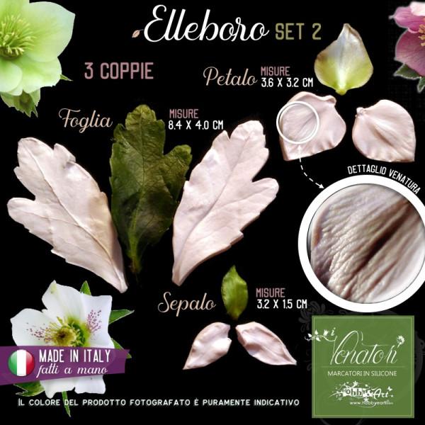 Venatore in silicone Elleboro Set 2 - Foglia, Petalo, Sepalo - ITA