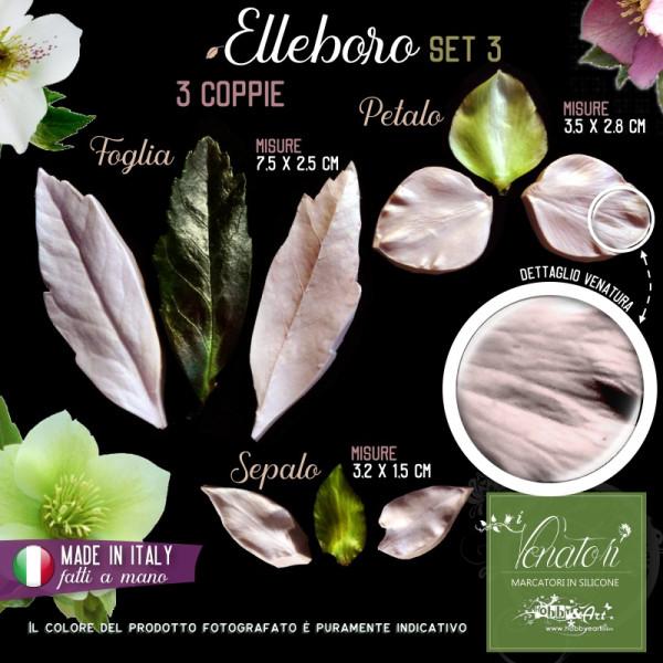 Venatore in silicone Elleboro Set 3 - Foglia, Petalo, Sepalo - ITA