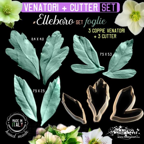 Venatore in silicone Elleboro 3 foglie + Cutter abbinati