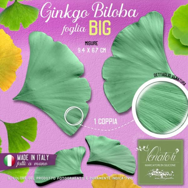 Venatore in silicone Ginkgo Biloba, foglia BIG 9,4 x 6,7 cm - ITA