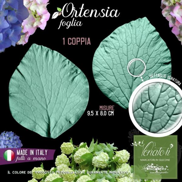 Venatore in silicone Ortensia foglia grande 9,5 x 8,0 cm - ITA