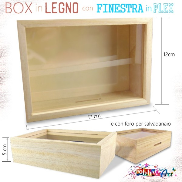 Box decorabile in legno con finestra in plex e fessura
