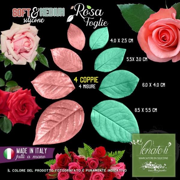 Venatore in silicone foglie di Rosa, 4 misure - Linea SM ITA