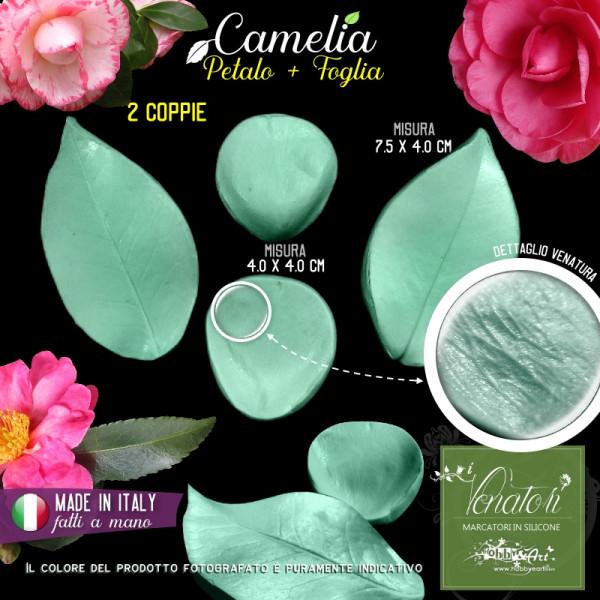Venatore in silicone Camelia, set petalo e foglia - ITA
