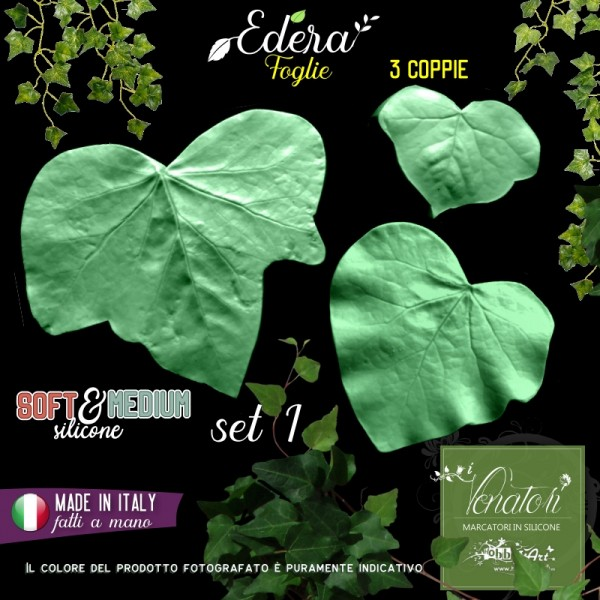 Venatore in silicone 3 foglie di Edera, Set 1 - Linea SM ITA