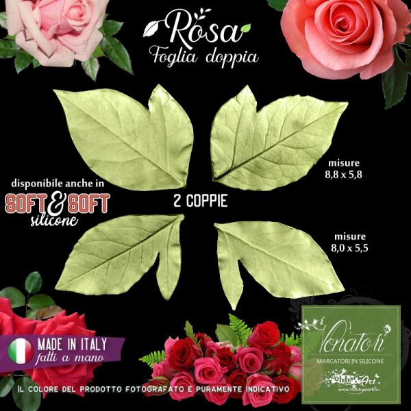 Venatore in silicone ROSA 2 foglie doppie - ITA