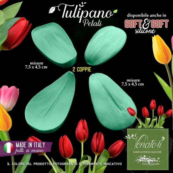 Venatore in silicone TULIPANO set fiore 2 petali misura medio-grande - ITA