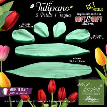 Venatore in silicone TULIPANO 2 petali e foglia, set piccolo - ITA