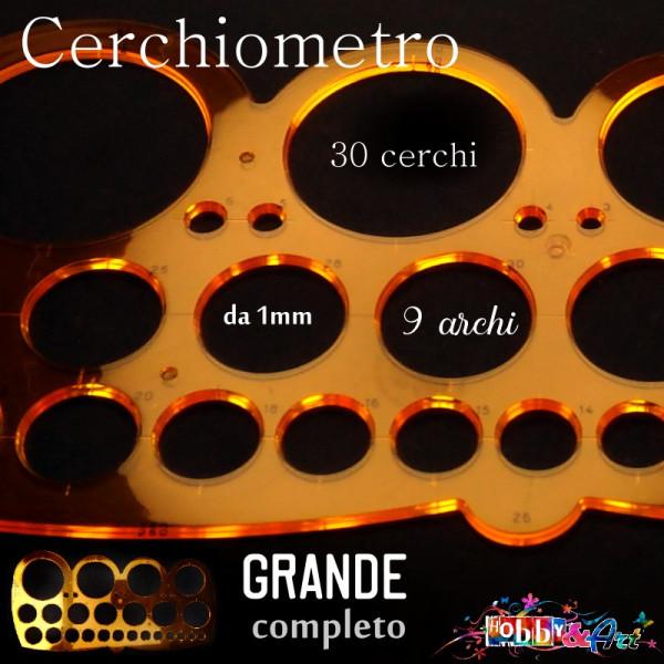 Cerchiometro grande in plastica con 30 cerchi e 9 archi