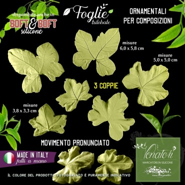 Venatore in silicone foglie trilobate in 3 misure per decorazioni - ITA