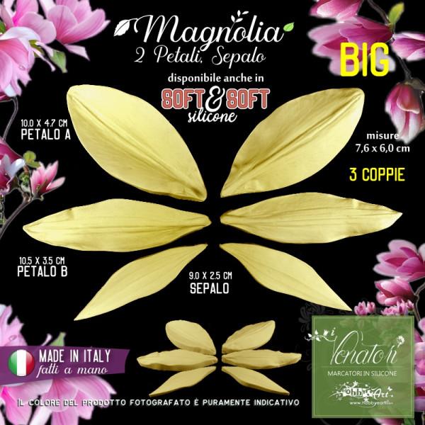 Venatore in silicone fiore della MAGNOLIA Petali e sepalo, Set BIG - ITA