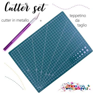 Tappetino da taglio + Cutter In alluminio viola