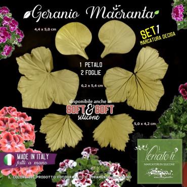 Venatore in silicone GERANIO MACRANTA Set 1 petalo, 2 foglie - ITA