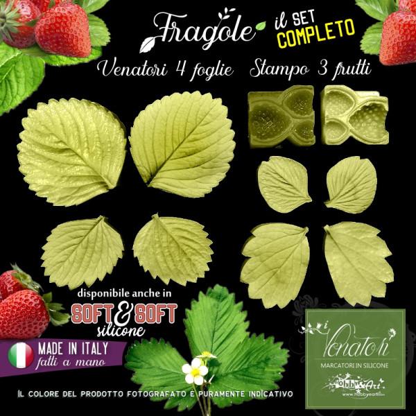 Venatore in silicone FRAGOLE 3 Frutti + 4 foglie - ITA
