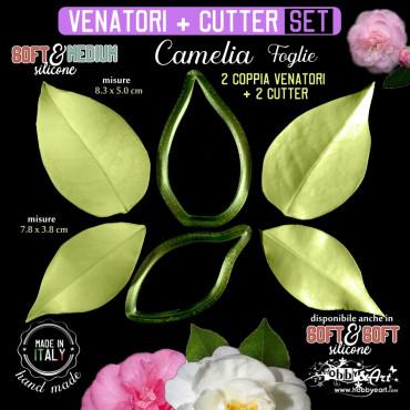 Venatore in silicone 2 foglie di CAMELIA + cutter abbinati - ITA