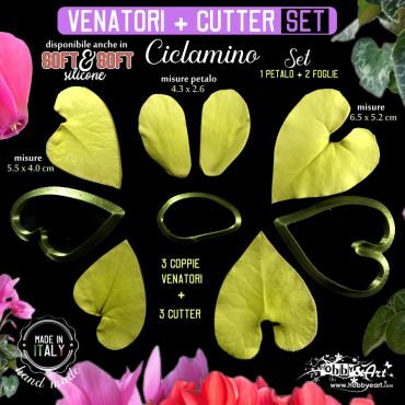 Venatore in silicone CICLAMINO petalo e 2 foglie + cutter abbinati - ITA