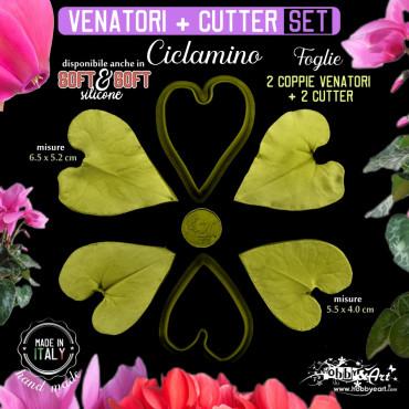 Venatore in silicone CICLAMINO petalo, 2 foglie medie + cutter abbinati - ITA
