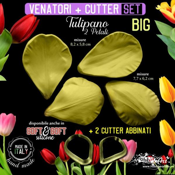 Venatore in silicone TULIPANO 2 petali BIG + 2 cutter abbinati - ITA