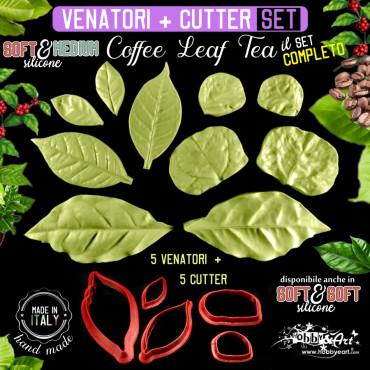 Venatore in silicone 5 foglie di pianta COFFEE LEAF TEA + cutter abbinati - ITA