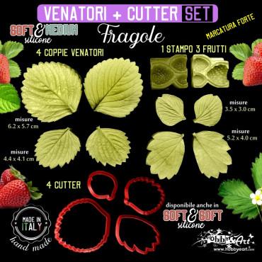 Venatore in silicone FRAGOLE 3 Frutti + 4 foglie + cutter abbinati - ITA