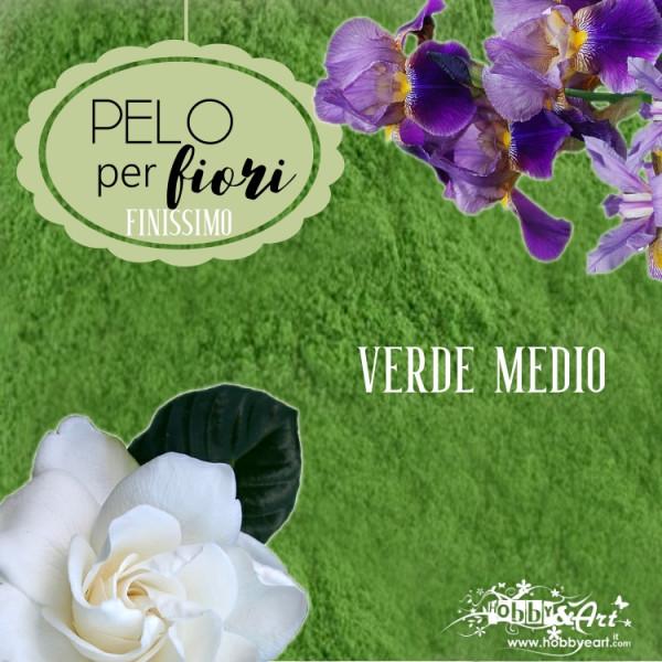 Pelo finissimo per fiori e decorazioni - Polvere di velluto colore Verde medio