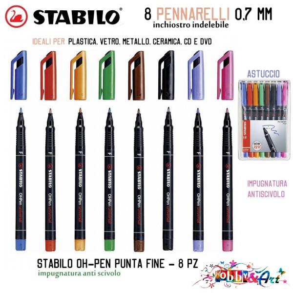 Pennarelli marcatori permanenti a punta fine in 8 colori - Set B