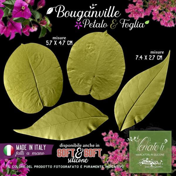Venatore in silicone Bouganville set 2 petalo e foglia - ITA